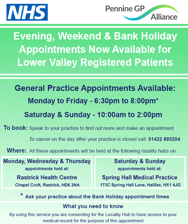 Evening, Weekend & Bank Holiday Appointments Now Available for Lower Valley Registered Patients
