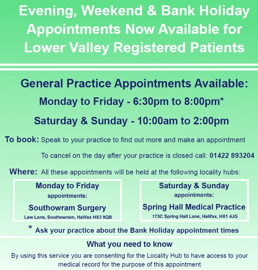 Evening, Weekend and Bank Holiday Appointments now available for Lower Valley Registered Patients