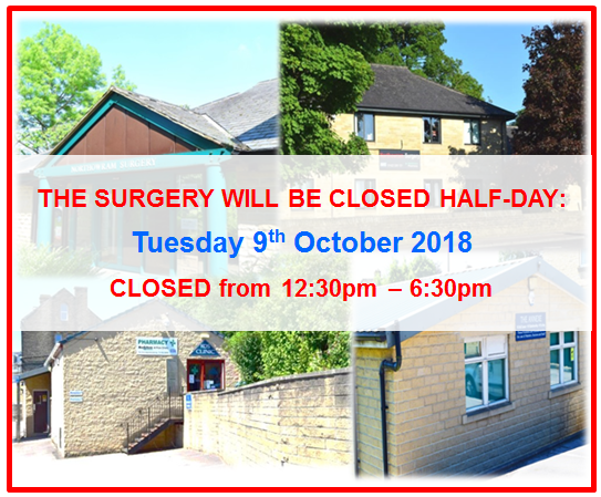 The Surgery will be closed half-day on Tuesday 9th October 2018